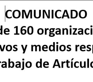 Más de 160 organizaciones, colectivos y medios respaldan el trabajo de Artículo 19